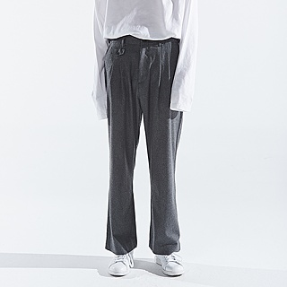 TWO PLEATED WIDE PANTS [CHARCOAL]