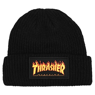 [국내칼배송] THRASHER FLAME LOGO BEANIE BLACK 트래셔비니 3131352