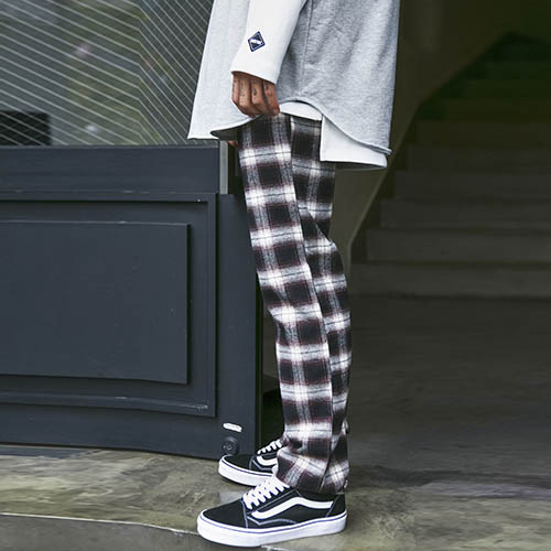 UNISEX CHECK PANTS [BROWN]