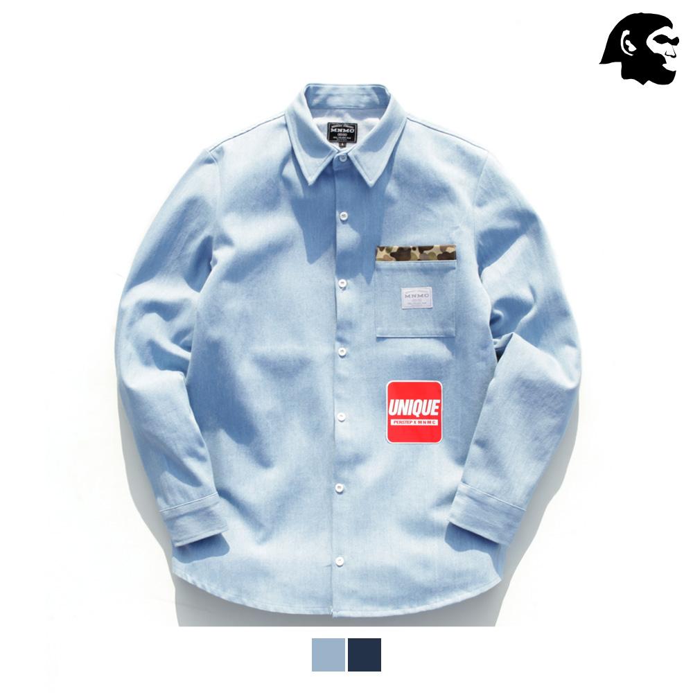 [퍼스텝] 카모포켓 데님 셔츠 2종 SMLS4057