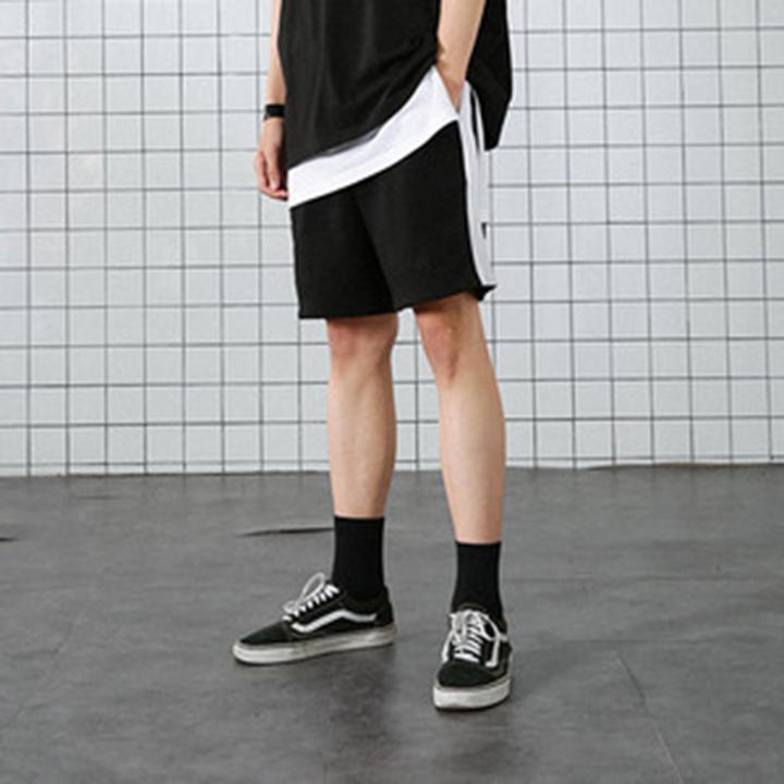 [XXIX] 라인 테이프 숏 팬츠 - 블랙