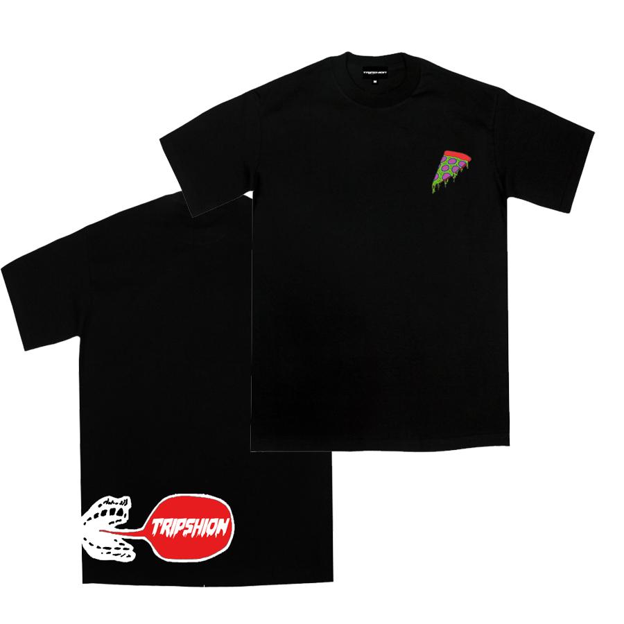 [단독할인]트립션 마약 피자 티셔츠 - 블랙