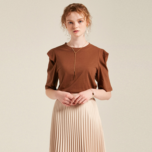 SHOULDER POINT T-SHIRTS_BROWN