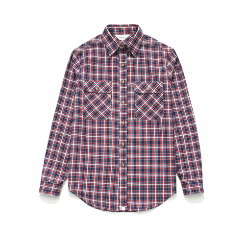 (Unisex) Check Shirt Red Navy Tartan