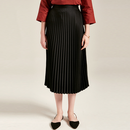 MID PLEATS SKIRTS_BLACK