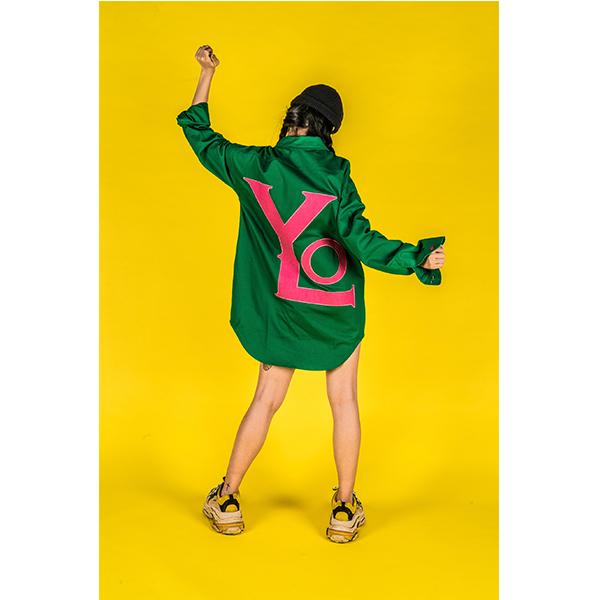 [YOLO KOREA] [위키미키 최유정 착용] 빅로고 투웨이 집업 셔츠 그린