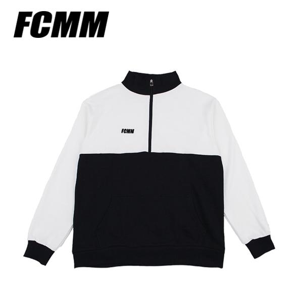 [FCMM] 컬러블럭 하프집업 맨투맨 - 화이트/블랙