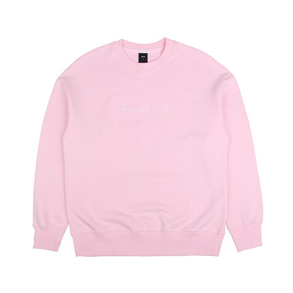 차일드 코튼 드랍숄더 스웨트셔츠 핑크