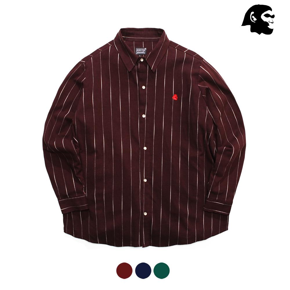 [퍼스텝] 커버 줄지 루즈핏 셔츠 갈색 SMLS4081