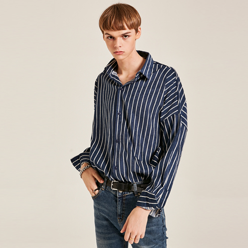 OVERFIT CORDUROY ST SHIRTS_NAVY