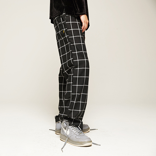 Window pane Check Wide Pants(2color)(unisex)
