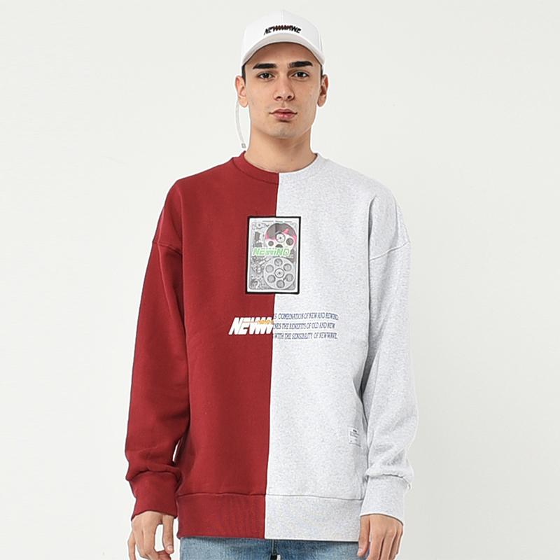 하프 컬러 스웨트셔츠 레드