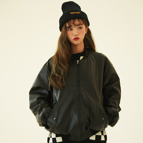 Oversize Leather MA-1 jacket (unisex)