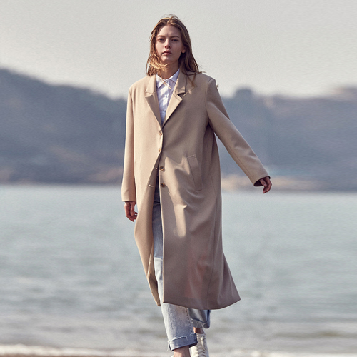 SOLID SINGLE LONG COAT_BEIGE