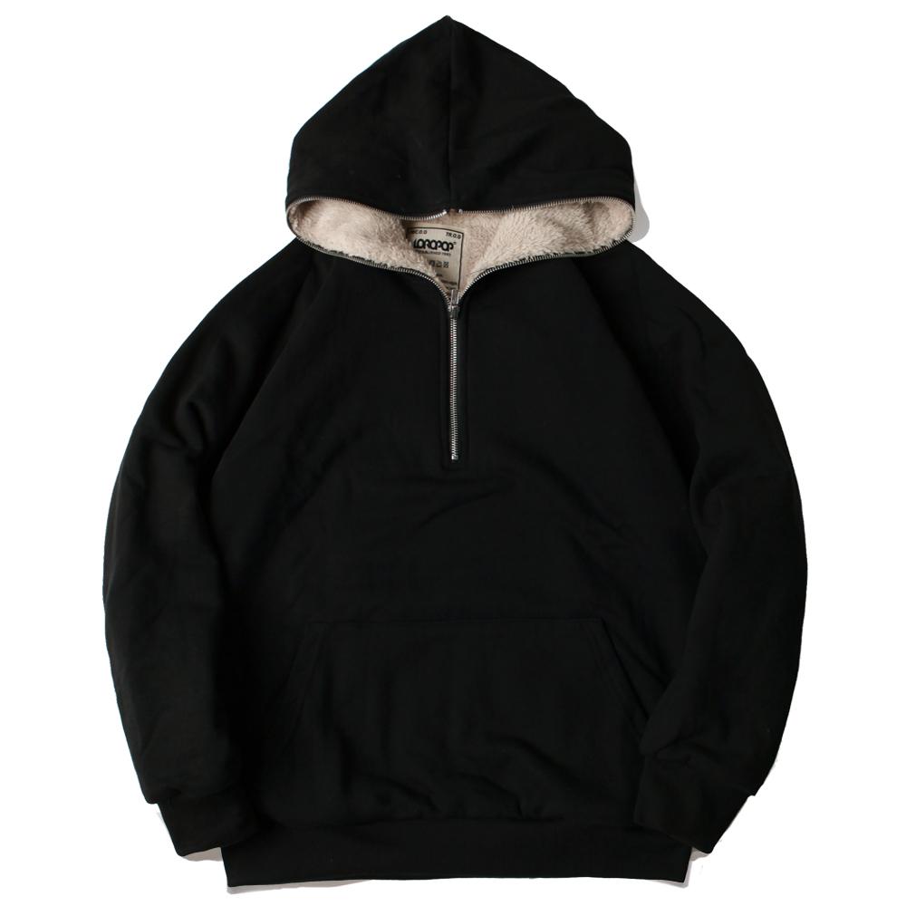 [로로팝] 양털 아노락후드 블랙