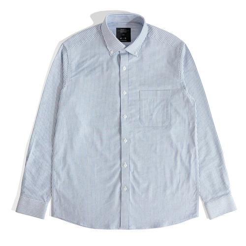 베이직 스트라이프 포켓 셔츠 BLUE