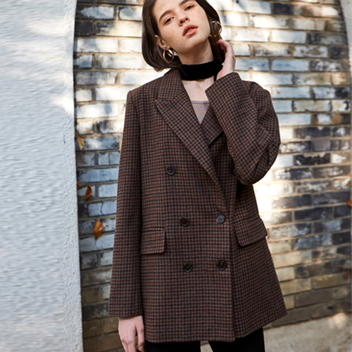 CHECK TAILORED DOUBLE JACKET_WINE