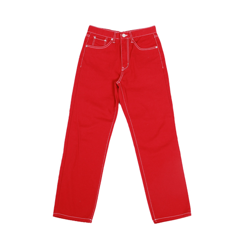 regular fit cotton pants - red