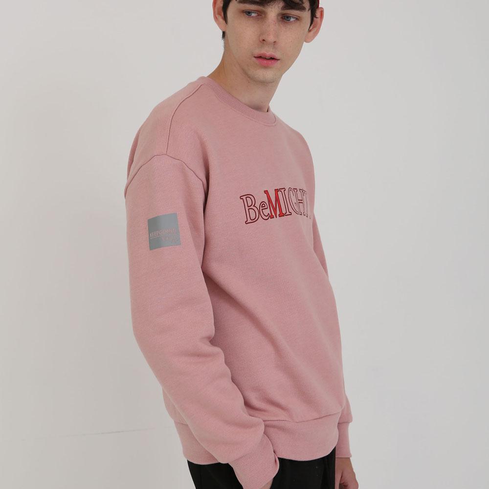 3M 전사나염 오버핏 기모 맨투맨 핑크
