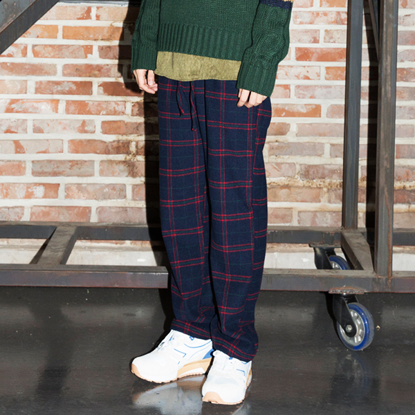 Over Check Wool Wide Pants(2color)(unisex)