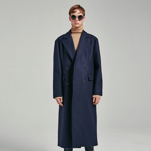 MODERN DOUBLE LONG COAT_NAVY