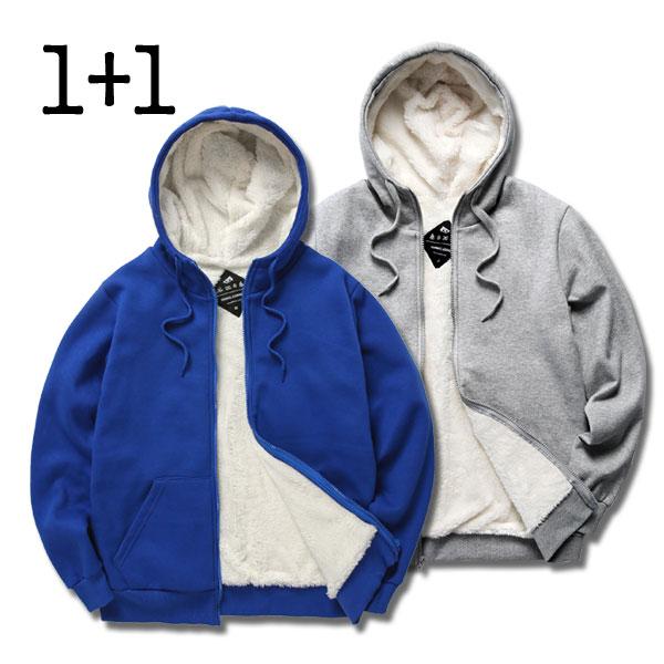 [단독할인][1+1]  뉴해빗 - 무지양털집업 - 양털집업 세트상품