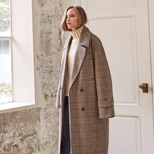CLASSIC DOUBLE CHECK COAT_BROWN