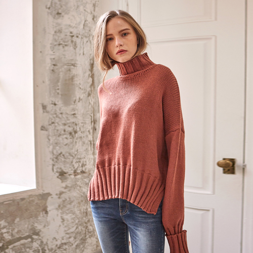 LONG SLEEVE TURTLE NECK KNIT_PINK BROWN