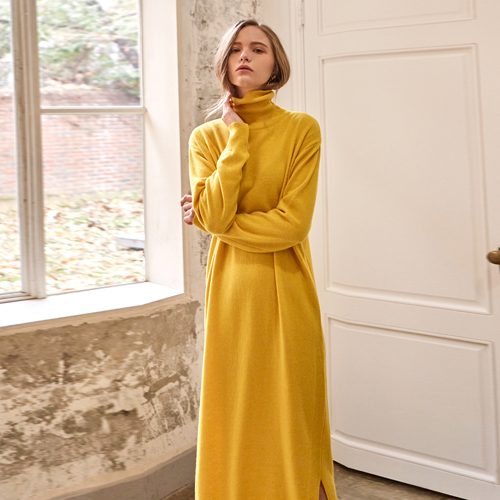 LONG TURTLE NECK ONEPIECE_YELLOW