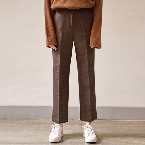 WINTER HERRINGBONE WIDE PANTS_DARK BROWN