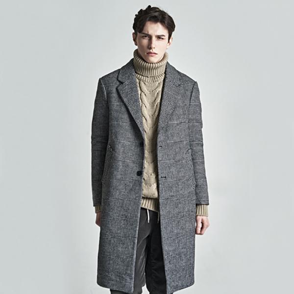 houndtooth check long coat_black