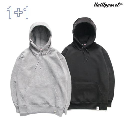 [1+1]  [유니어패럴] 베이직 쭈리 후드티 (그레이/블랙)