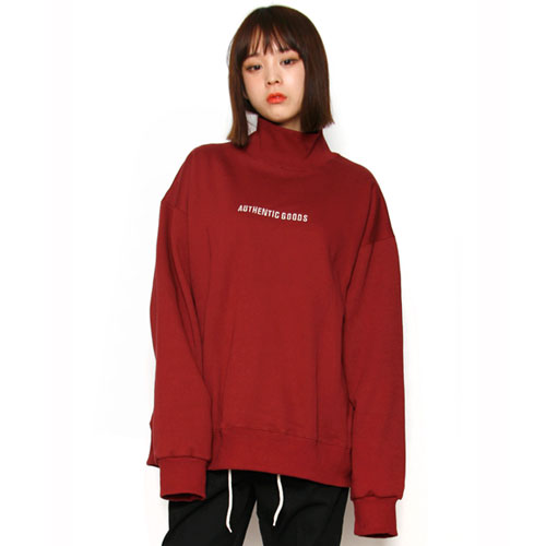 [스턴트] Embo Logo Back Turtleneck (Burgundy)
