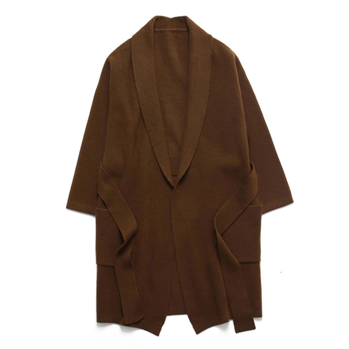 (Unisex) Shawl Cashmere Robe Coat_Brown