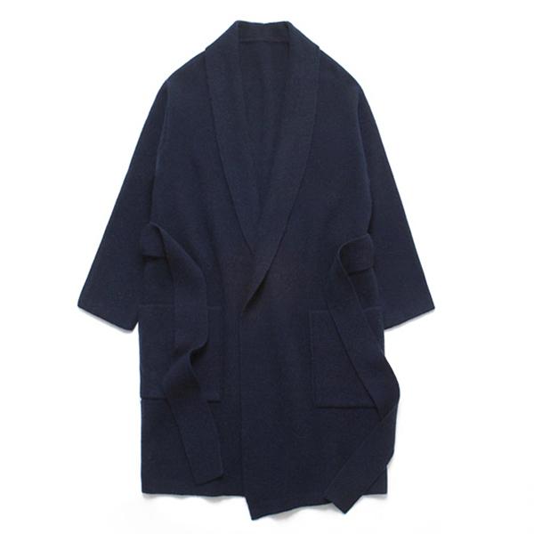 (Unisex) Shawl Cashmere Robe Coat_Navy