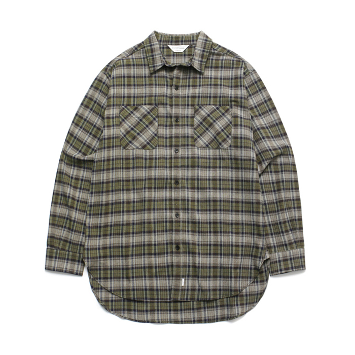 (Unisex) Tartan Check Shirt Khaki Brown