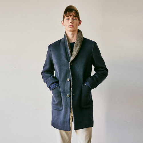 MODERN LINE WOOL COAT JACKET_NAVY