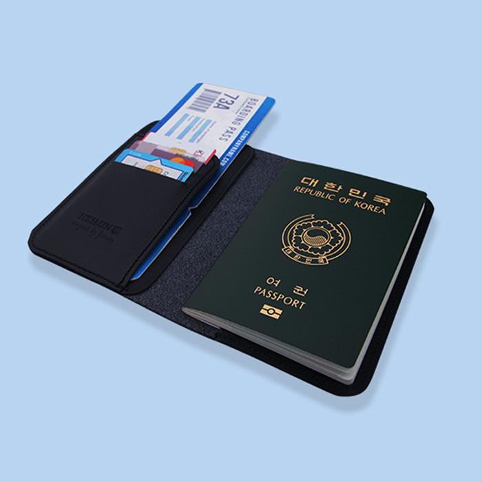 여권지갑 천연소가죽 다크 네이비