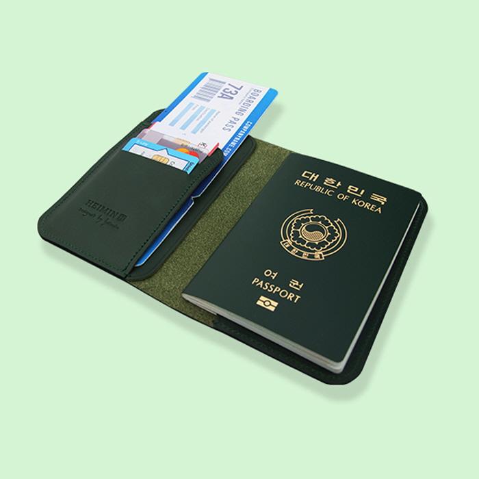 여권지갑 천연소가죽 쥬니퍼 그린