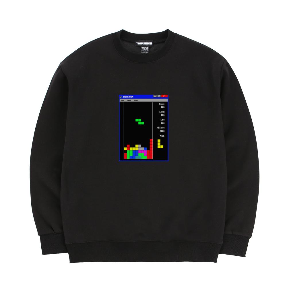 트립션 테트리스 스웨트 셔츠 - 블랙