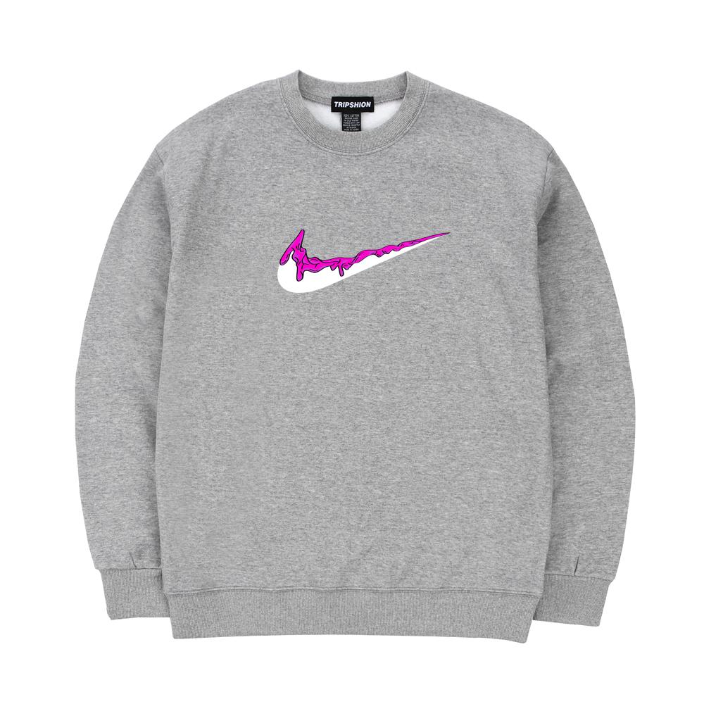 트립션 핑크 밴딩 스웨트 셔츠 - 그레이