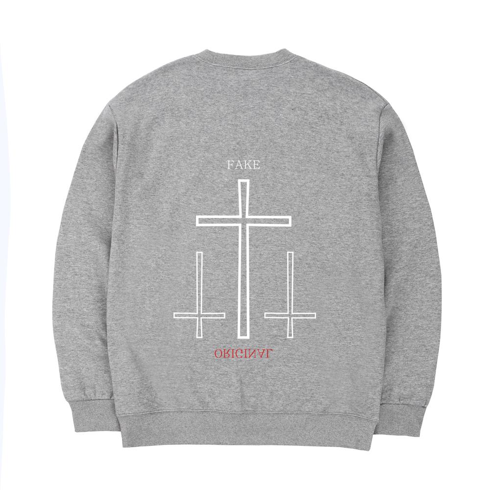 트립션 트리플 크로스 스웨트 셔츠 - 그레이
