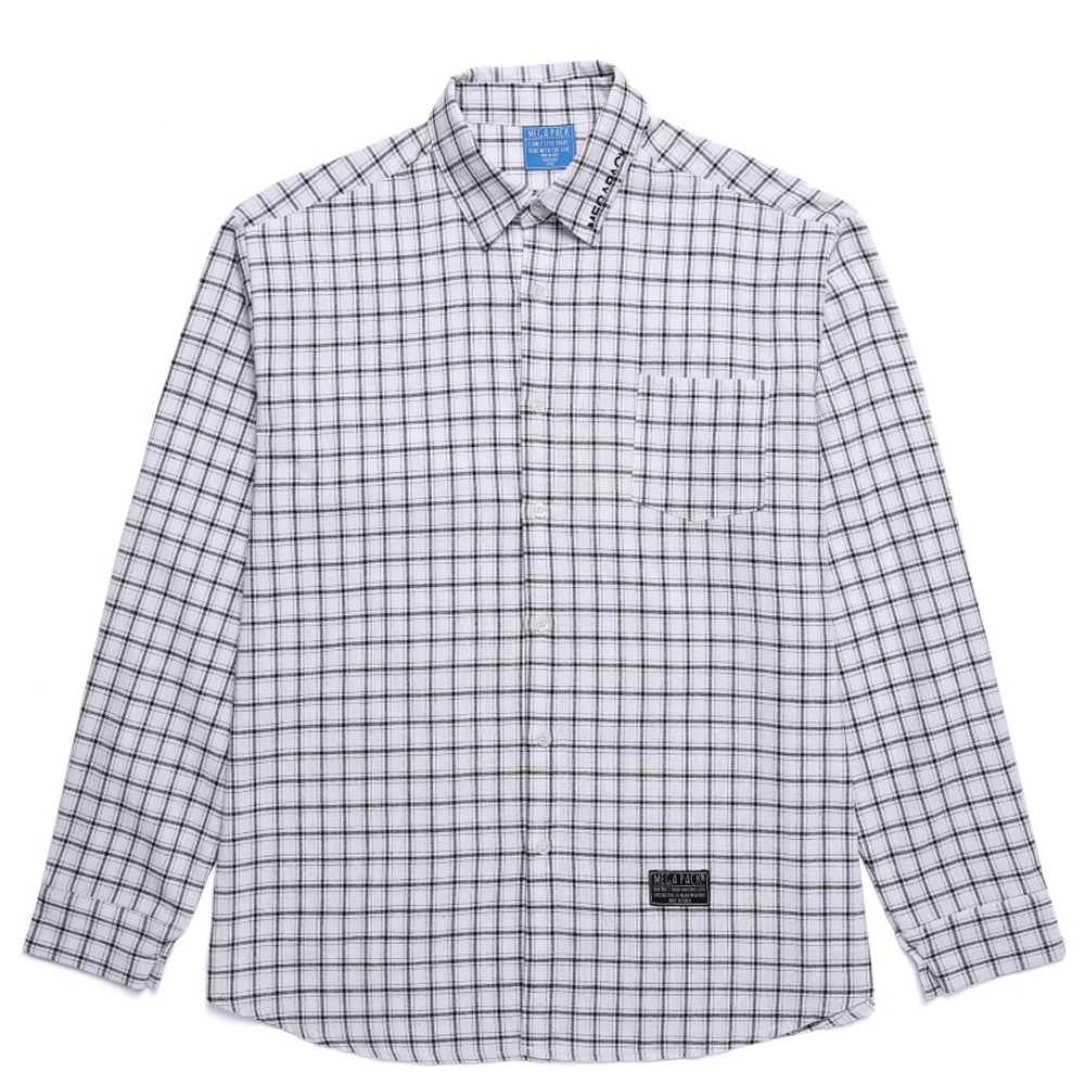 메가팩 셔츠 카라 자수 체크셔츠_WHITE