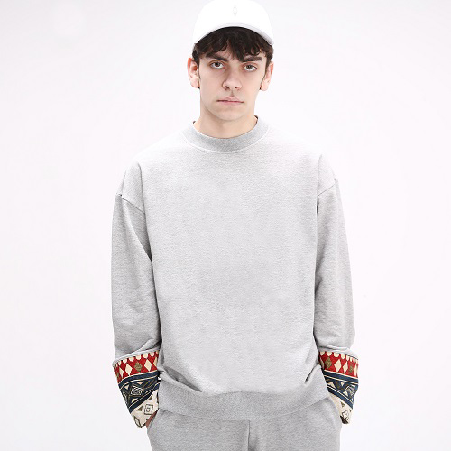 Ethnic Sleeve Block Crewneck(Gray)