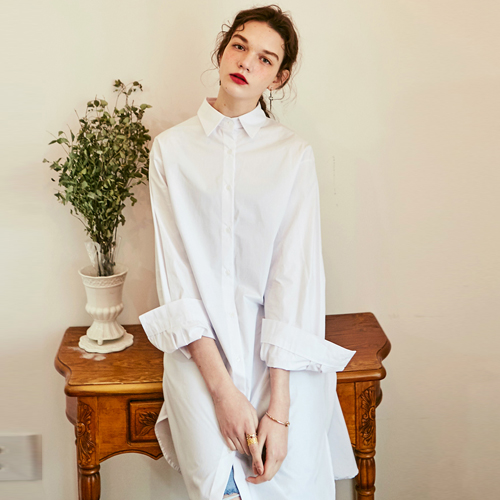 ROMANTIC LONG ONEPIECE SHIRTS_IVORY