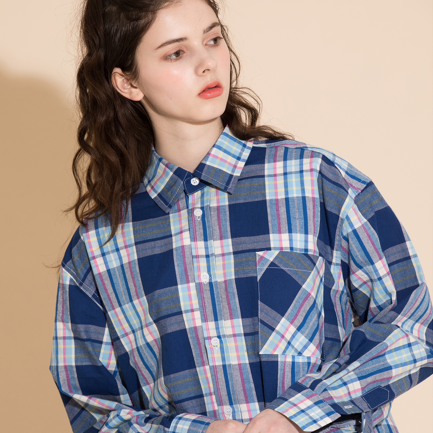 OVERFIT CHECK SHIRTS BLUEPINK