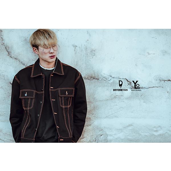 YOLO KOREA x Divine925 오렌지 스티치 트러커자켓