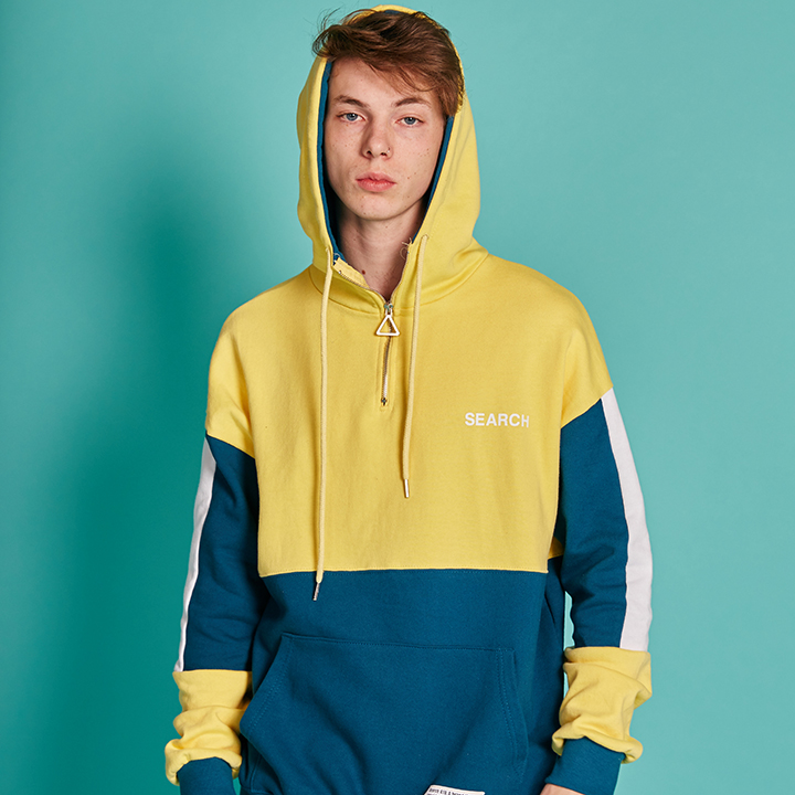 UNISEX ANORAK HOODY _ YELLOW - BLUE GREEN
