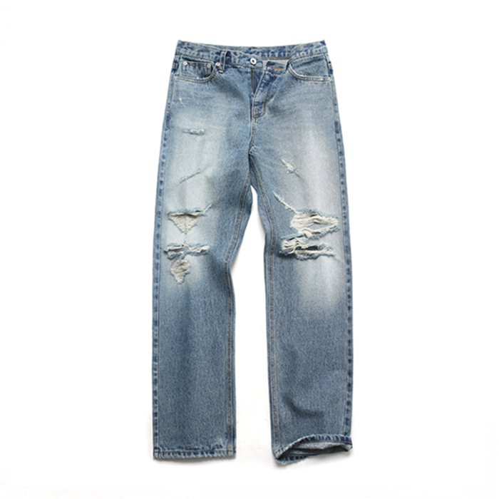 [LAFITS] (Unisex) Damage Slim Standard Jeans_Light Blue