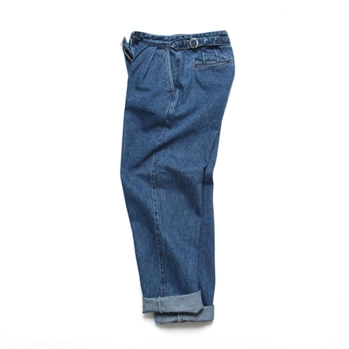 [LAFITS] (Unisex) Velcro Semi Wide Jeans_Deep Blue
